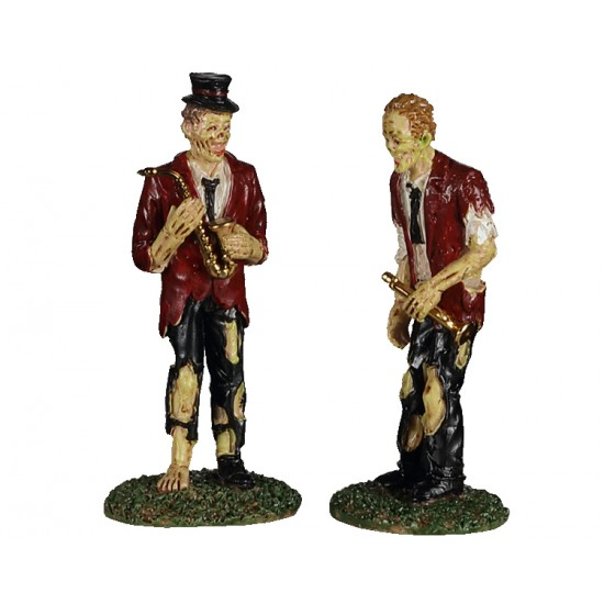New Lemax Deux musiciens mort vivant jouant musique Spooky Town A Chilling Band Of Two Set of 2 # 02958   Polyresin Halloween 2020