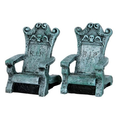 Chaise Faite en Pierre Tombale R.I.P.  Lemax Figurines  34615 Tombstone Chair St Of 2 Halloween Polyresin 2021