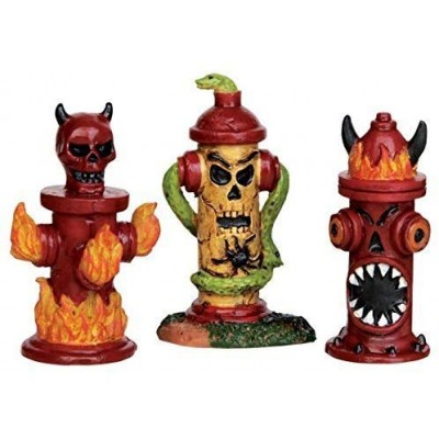 New Lemax Borne Fontaine Peinturer Tête Mort Serpent Feux Spooky Town 54905 HellFire Hydrants Set Of 3  Halloween 2020