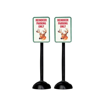 Lemax Figurines 54939 Reindeer Parking Only Sign Set Of Two  Polyresin 2018 Enseigne (Pancarte) Stationnement Renne seulement