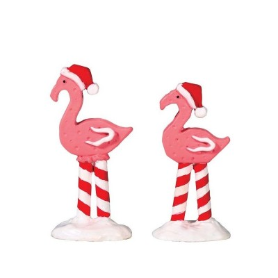 Lemax Figurines  Pink Flamingos Set of 2 # 74209  Polyresin 2018 Flamand Rose avec tuque Noel